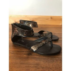 Candie's Brown Sequined Sandals